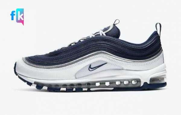 2020 New Drop Nike Air Max 97 Navy Blue White for Sale